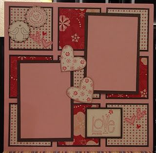 Valentine Scrapbook page- I like this idea, I would rework it so I could get more than just 2 photos on the page.