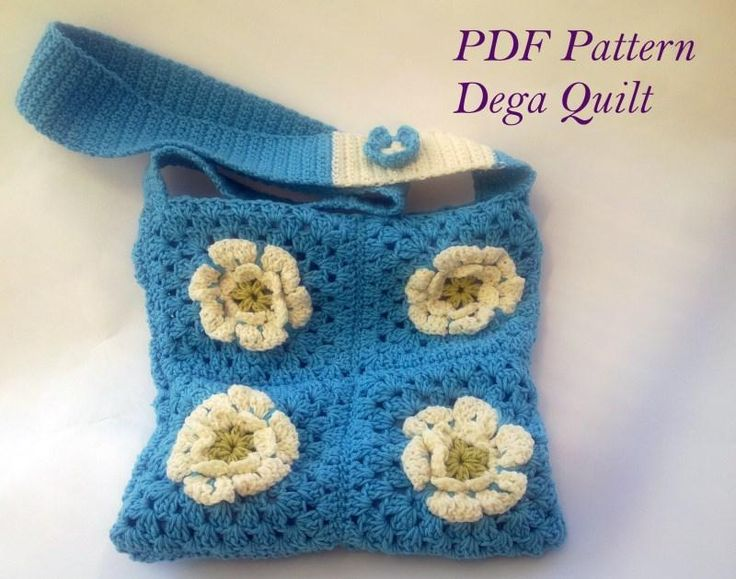 Crochet blue purse with flowers