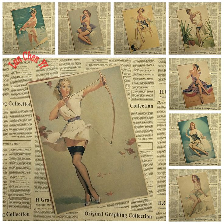 Slender Girl Series 2 Vintage  Kraft Paper Poster Bar Cafe Living Room Dining room Wall Decorative Paintings Home Decor-in Wall Stickers from Home & Garden on Aliexpress.com | Alibaba Group