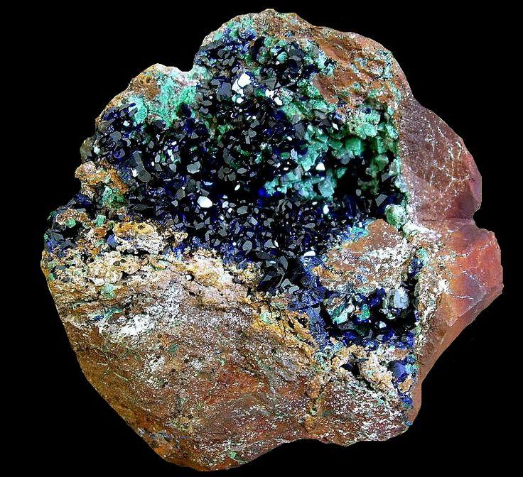 Azurite with malachite coating cuprite