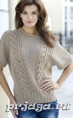 Женский пуловер спицами с рукавом «lepakkohihainen»