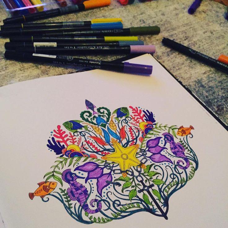 Yeni mor boyalarımı sevdim ☺️ #art #artwork #artoftheday #book #brightcolours #color #coloring #drawing #hobby #johannabasford #lostocean #painting #relax #sea #seastar #deniz #denizyıldızı #denizatı #seahorse #yosun #yaprak #leaf