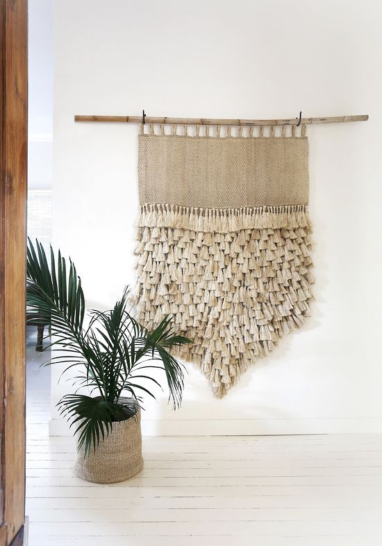 jumbo jute wall hanging natural with tassels wall hangings the dharma door - Fabric Wall Designs