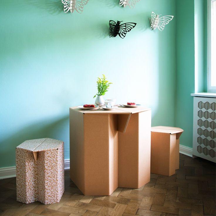 Papp Hocker MAKS, Natur, 4 Stück   Pappmöbel U2013 Shop Für Möbel Aus