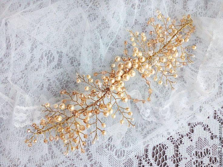 Купить Свадебныый венок - бежевый, для невесты, невесте, для прически, венок, венок для невесты, украшения для невесты