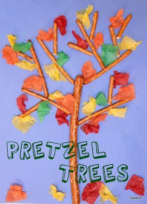 Tippytoe Crafts: Pretzel-Stick Trees ~ diy for kids fall craft project ~ pretzel sticks & tissue paper