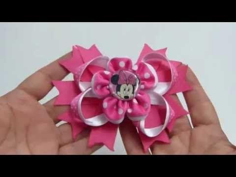 Flores doble liston facilitas para centro lazos,#533, Flores de cinta pequeñas - YouTube