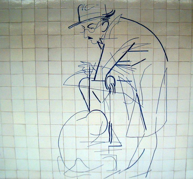 """júlio Pomar-painel de azulejos """"fernando Pessoa""""para o metro lisboa"""