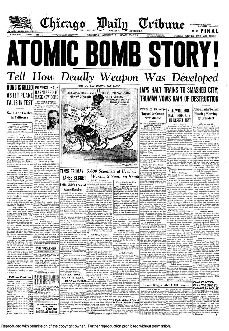 a history of the dropping of the atomic bombs on hiroshima and nagasaki in august of 1945 The weapon dropped over nagasaki, on august 9, 1945 whereas the weapon dropped over hiroshima had been a relatively squat industrial and urban areas concentrated on relatively flat ground ideal for the intense blast pressures produced by an atomic bomb nagasaki, however, was a.