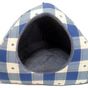 Blue Patterned Dog Igloo Bed