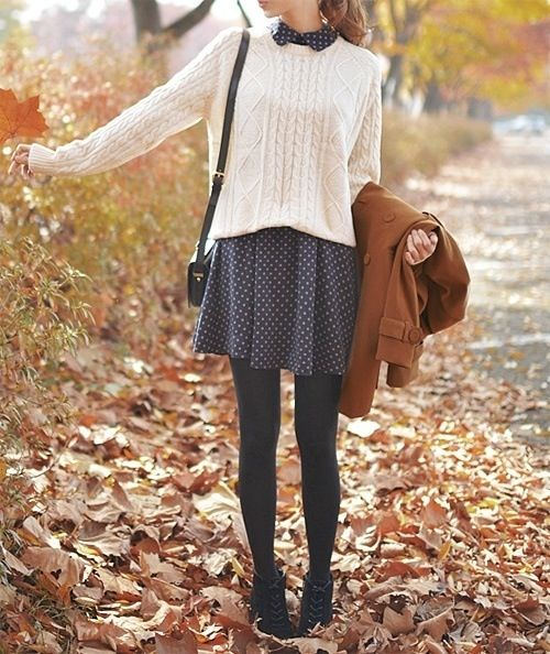 I LOVE the big sweater over the sweet dress!
