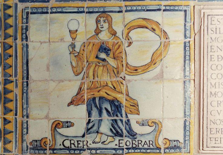 Virtudes teologais. Azulejos do século 17. Igreja Matriz de São João Baptista, Moura, Portugal