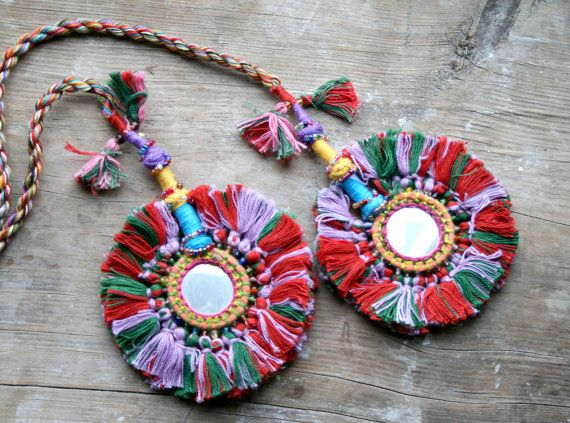 Tribal PomPom Tassel Accessory for hair or belt by ChandrikaShop