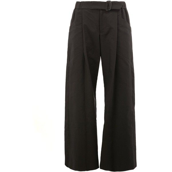 Issey Miyake Wide-Leg Trousers ($777) ❤ liked on Polyvore featuring pants, black, wide leg trousers, wide leg pants and issey miyake