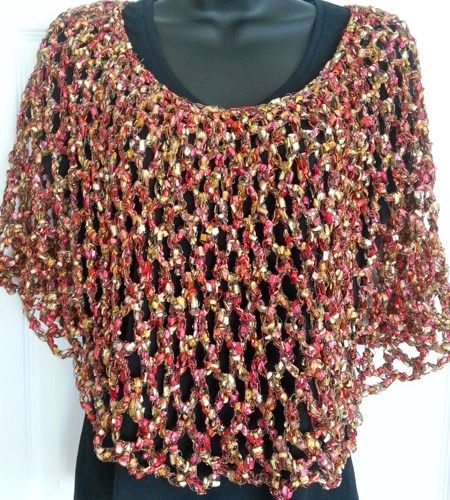 Valentine's Cape - Red and Gold Sparkling Capelet  | ClaudiasCrochetCreations - Seasonal on ArtFire