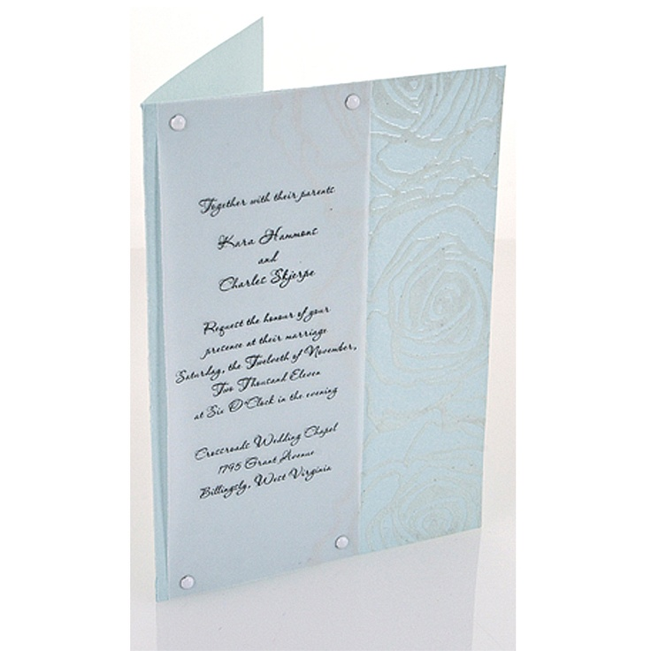 Hand embossed wedding invitations featuring Jumbo Cling