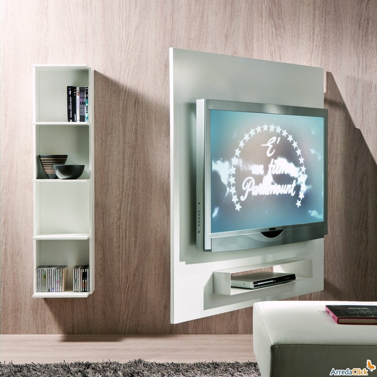 Porta tv orientabile a parete con libreria Ghost - ArredaClick