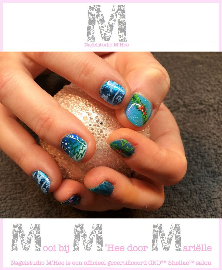 M'Hee. CND™ SHELLAC™ brand 14+ day nail color cerulean sea met CND™ Additives™, handpainting en stempels