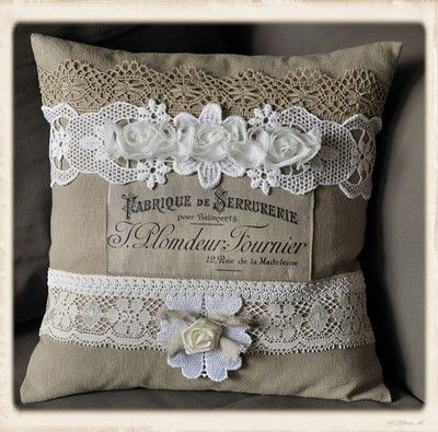 diy pillow! really decorated with lace sue