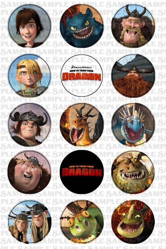 INSTANT DOWNLOAD -- How to Train Your Dragon themed -- 1 inch circle 4x6 Digital…