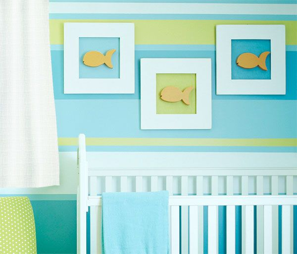 Cute stripe wall idea we could do in aqua, white, lilac and pale lime green