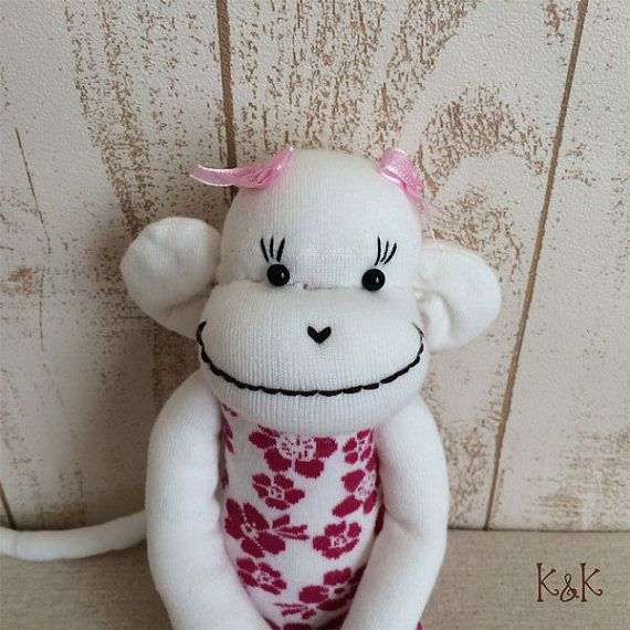 Aloha Sock Monkey Doll Girl 106  Floral by KnKCraftsAndDesigns