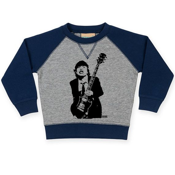 Details  Snuggle your little one in this cozy contrast raglan sweatshirt with the print of their favourite singer Angus Young.   LISTING INCLUDES: Larkwood unisex baby and toddler contrast raglan sweatshirt with Angus Young, AC/DC print.  #cool #organic #clothes #kids #rock #music   /Angus Young Baby Raglan Sweatshirt ACDC Toddler Sweatshirt