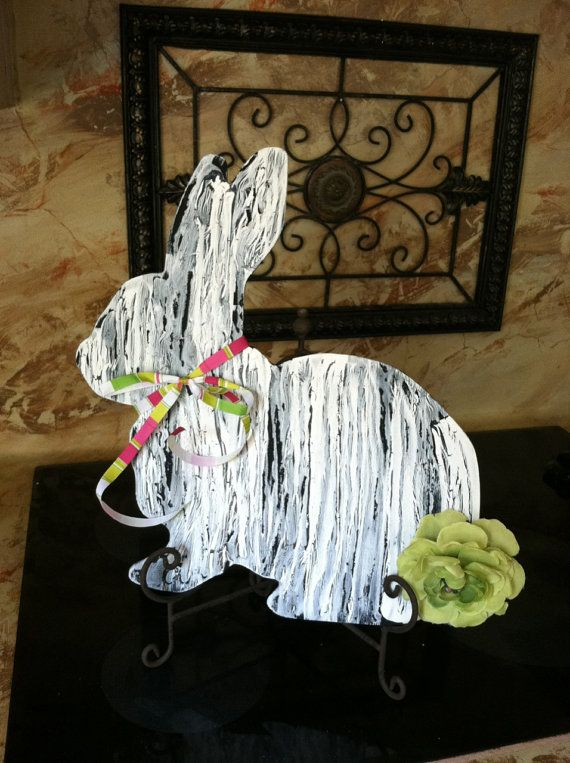 Painted Wood Bunny Cut Out for Wreath Door by GreatwoodFlorals