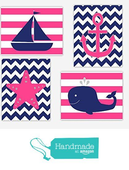 Nautical Baby Girl Nursery Wall Art Pink Navy Blue ...