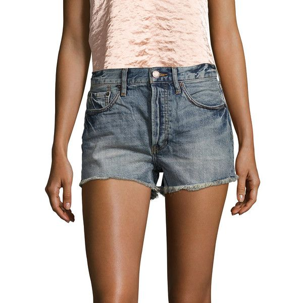 Free People Women's High-Rise Cut Off Denim Short - Blue, Size 30 ($25) ❤ liked on Polyvore featuring shorts, blue, ripped jean shorts, cutoff denim shorts, cutoff jean shorts, high-waisted denim shorts and jean shorts
