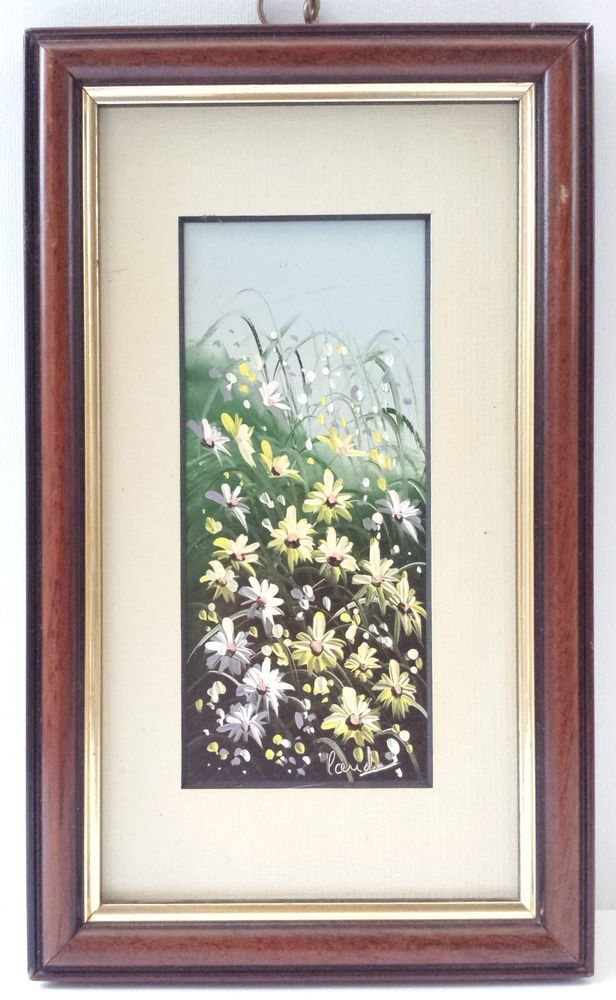 Original Oil Painting Picture Signed Mounted Wood Frame Floral Daisy Meadow