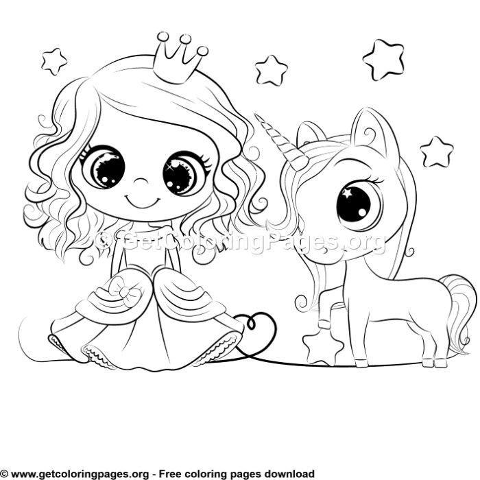 Cartoon Princess And Unicorn Coloring Sheet Lembar Mewarnai Gambar Unicorn Sketsa
