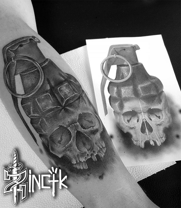 Martin Tattooer Zincik - Czech Tatto artist, Grenade with Skull, Realistic tattoo design, Tetování na předloktí Praha / Chrudim
