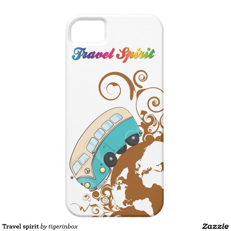 "$42,70 Travel Spirit iPhone SE + iPhone 5/5S Case. In the illustration there are the world with a retro Volkswagen bulli mini van and ""Travel Spirit"" lettering in rainbow color"