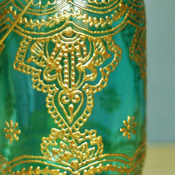 Moroccan Style Lantern Teal Glass Mason Jar with by LITdecor, $28.00