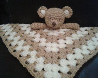 Crochet PATTERN Teddy Bear Security Blanket Toddler Baby Lovey Comforter Blankie Cute Lovie Quick Easy Instant Download