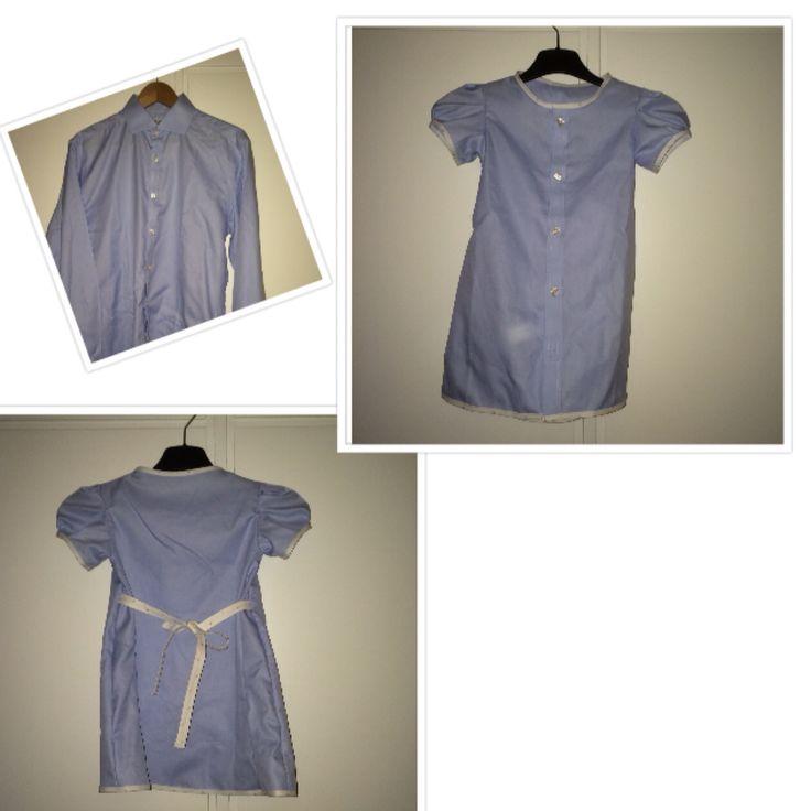 En herrskjorta blir klänning med puffärm till 3-åring!