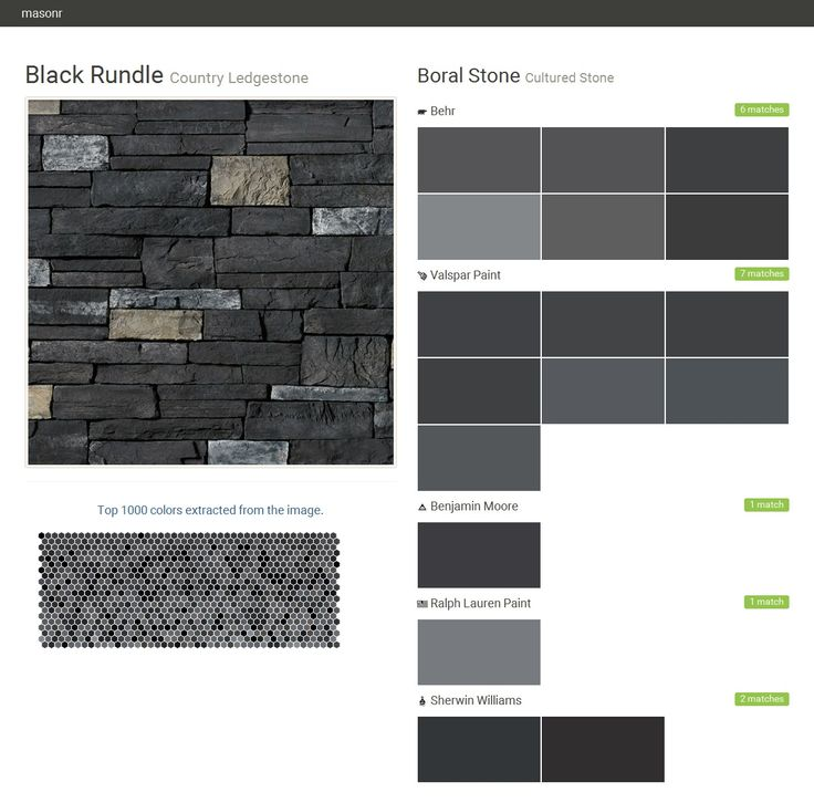 Black Rundle. Country Ledgestone. Cultured Stone. Boral Stone. Behr. Valspar Paint. Benjamin Moore. Ralph Lauren Paint. Sherwin Williams.  Click the gray Visit button to see the matching paint names.