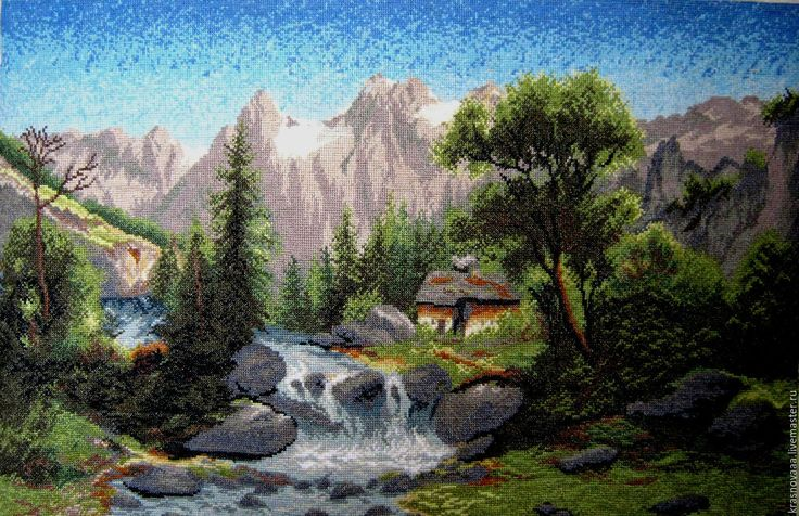 Купить Вышивка крестов «В долине» - комбинированный, горы, река, домик, пейзаж, вышика