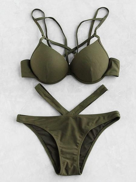 2ad4c7edf4da Green Cut Out Bustier Strappy Bikini Set en 2019   Trajes de baño ...