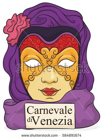 Poster with colorful female volto mask with delicate gilded details and purple silks for a elegant woman in the masquerade of Venice Carnival (written in Italian over the card).