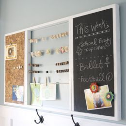 Chalkboard organiser with pinboard and string to hang things from