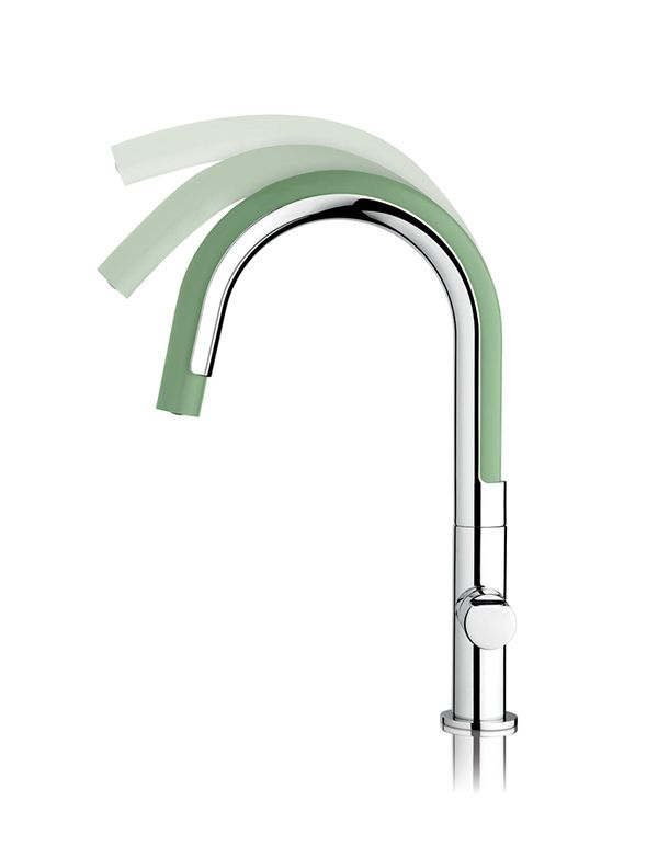 The classical sense of the kitchen spring faucet is reworked into a brightly colored, flexible, soft, silicon hose that can be twisted and t...