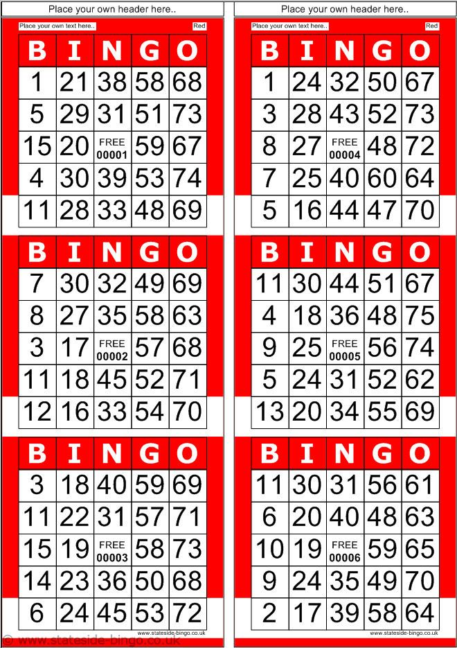 bingo patterns printable | Red bingo cards with normal ...