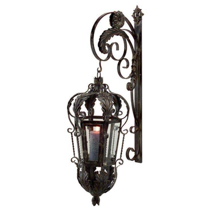 Wall Candle Lanterns Iron : Wrought Iron Hanging Lantern garden Pinterest
