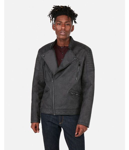 28666b9ec Express Mens Faux Leather Distressed Asymmetrical Moto Jacket in ...
