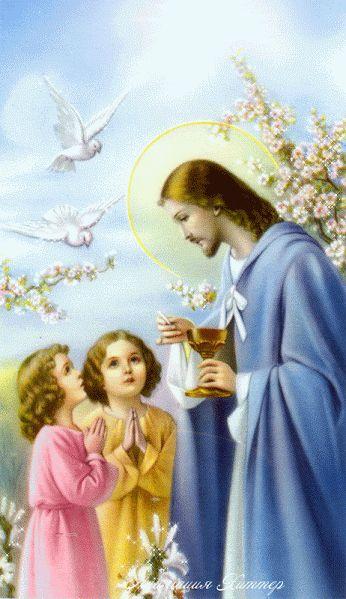 Ver imagen de Jesús rodeado de niños que estas listos para recibir la ostia además lindas flores y palomas de color blanco con movimiento y brillo
