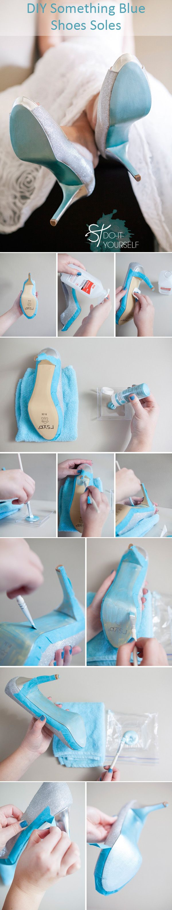 diy wedding ideas Tiffany themed something blue wedding shoes soles