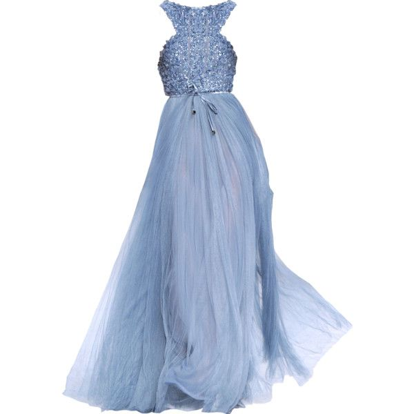Elie Saab - edited by Satinee ❤ liked on Polyvore featuring dresses, gowns, vestidos, long dresses, elie saab, blue evening dress, blue ball gown and elie saab evening dresses