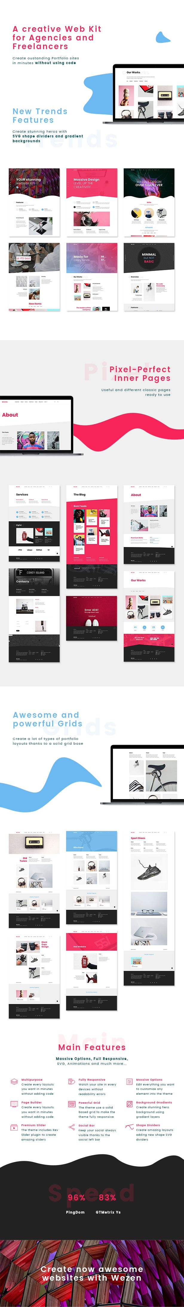 Wezen is a result of many years of experience on Theme's Development. The theme presents massive options and a stunning design.  Gradient Backgrounds, SVG shapes are the main features of this theme. Wezen is fully animated and responsive because it's uses a solid and fully customizable responsive grid ( Bootstrap based ),